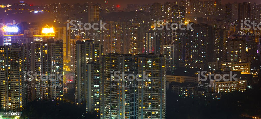 City in the night stock photo
