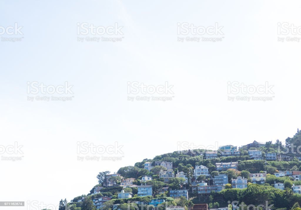 City in the sky or on a hill stock photo