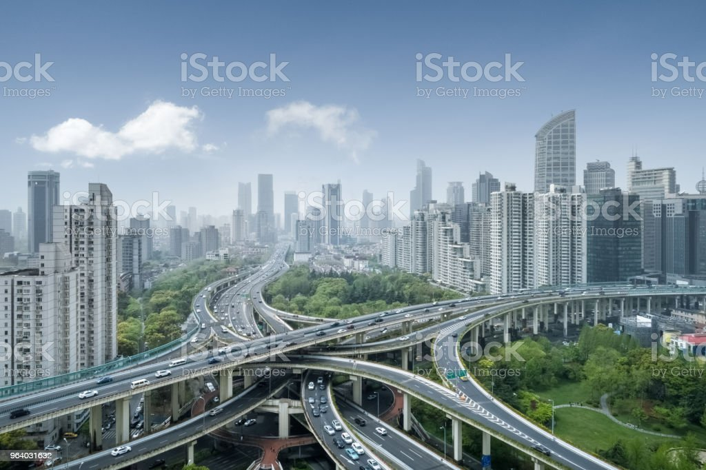 city interchange in shanghai - Royalty-free Aerial View Stock Photo