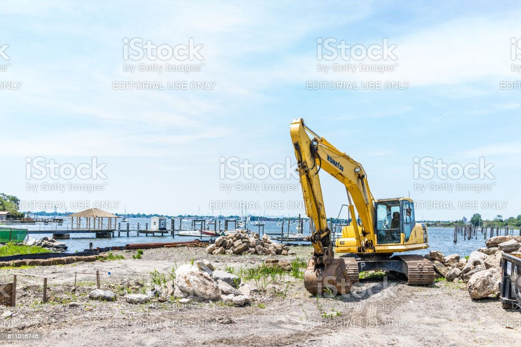 City Island harbor with boats and construction truck stock photo