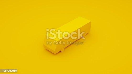 istock City Isometric Yellow Bus. 3D Illustration 1087080980