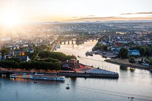 City Koblenz with Deutsches Eck at sunset