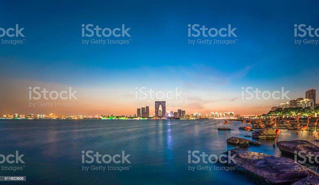 City Lake scenery stock photo