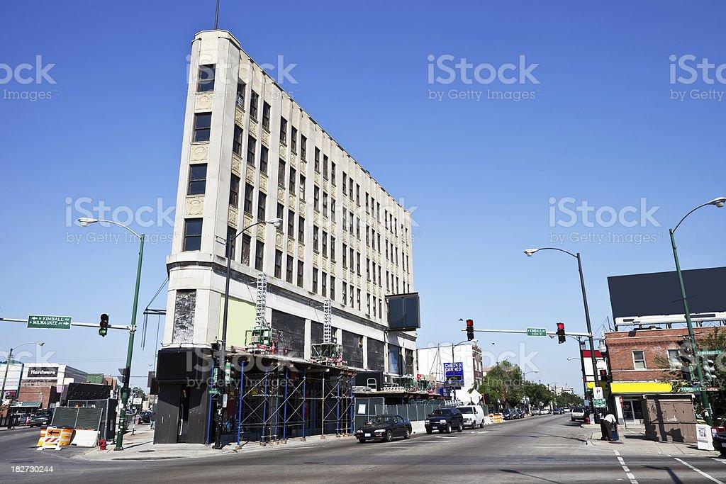 City Landmark Restoration in Chicago royalty-free stock photo