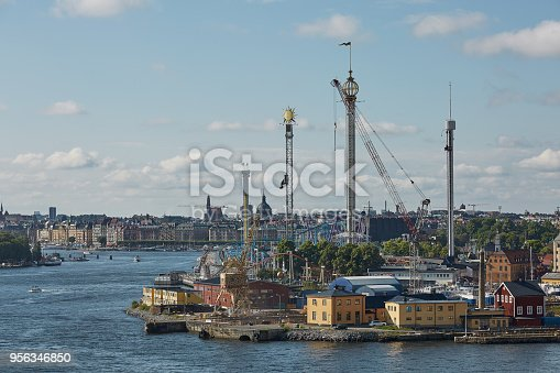 istock City landscape and Tivoli Grona Lund - Gronan - amusement park on the Djurgarden Island in Stockholm in Sweden 956346850