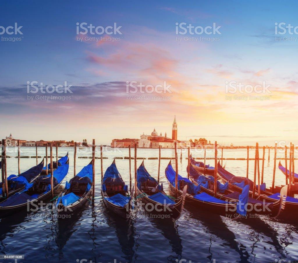 City landscape. Fantastic views of the gondola at sunset stock photo