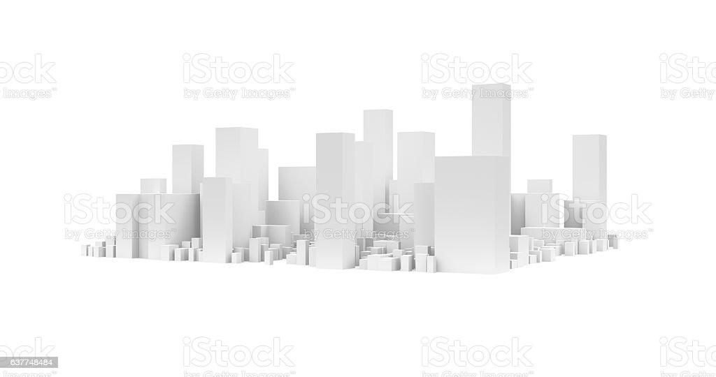 City Landscape, Isolated on White Background stock photo