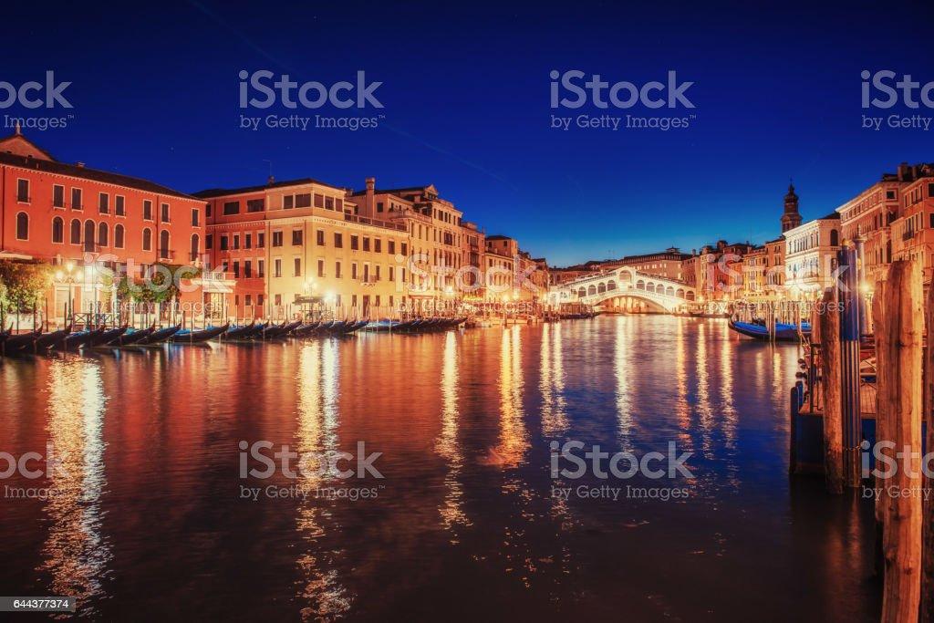City landscape. Rialto Bridge in Venice, Italy stock photo