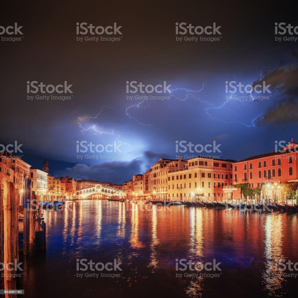 City landscape. Rialto Bridge in Venice. stock photo