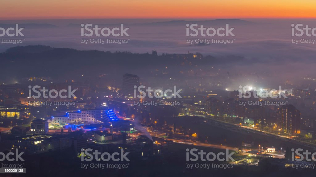 City Landscape with Fog stock photo