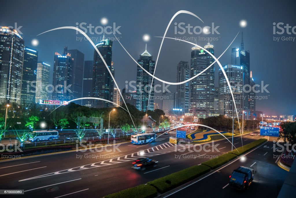 City life and communication - foto stock