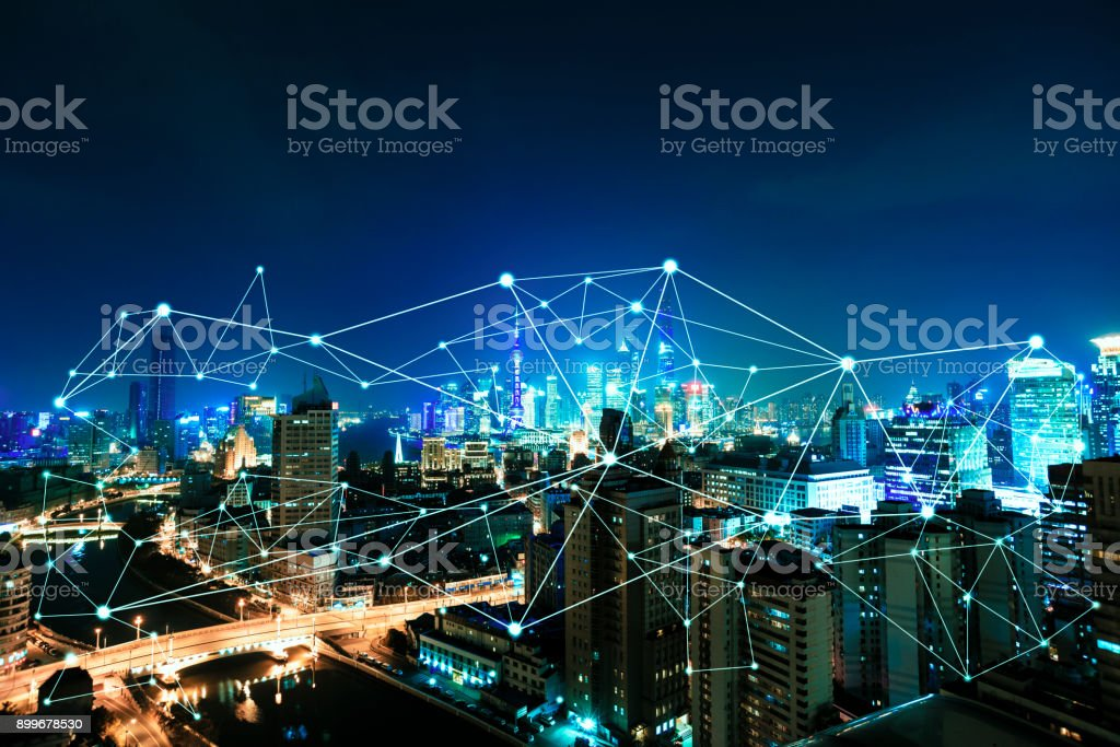 City life and communication stock photo