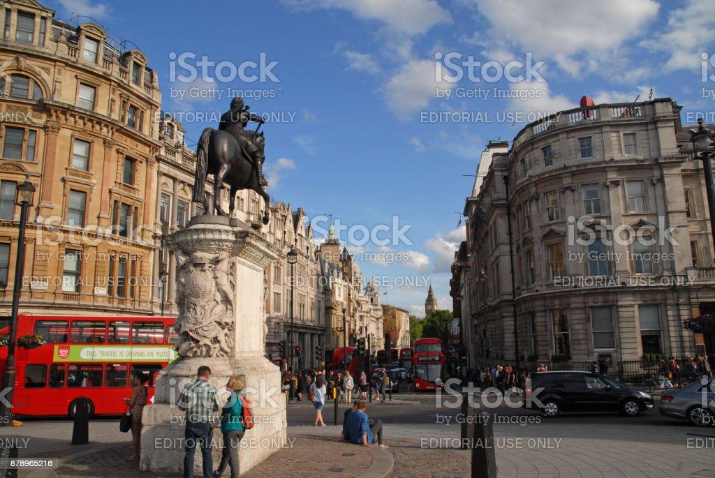 City life at Trafalgar Square stock photo