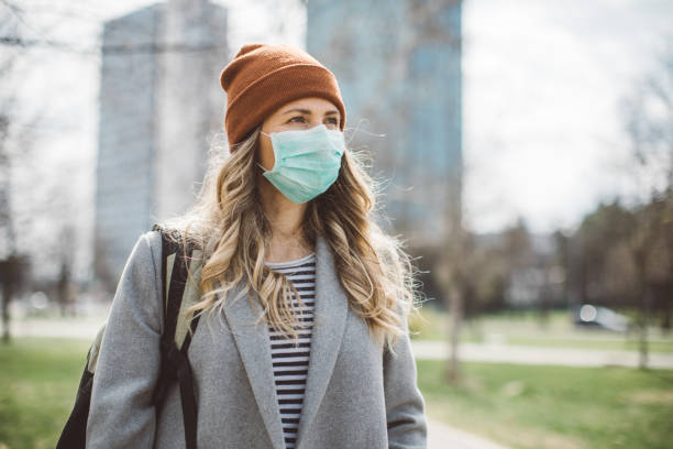 City life during pandemic isolation stock photo