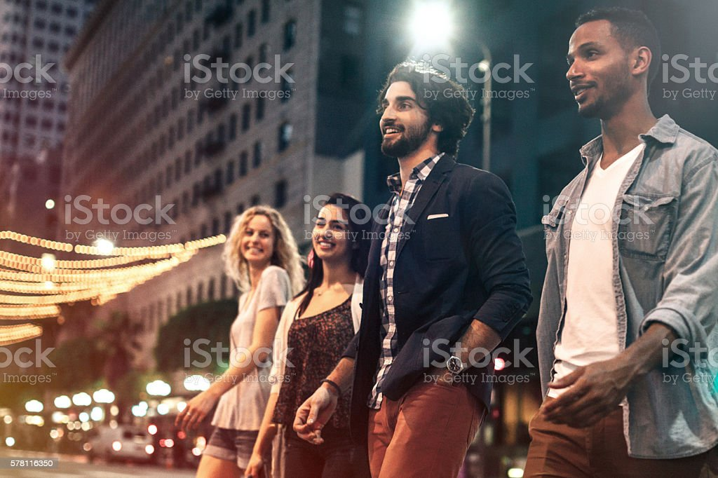 City Life Friends at Night stock photo