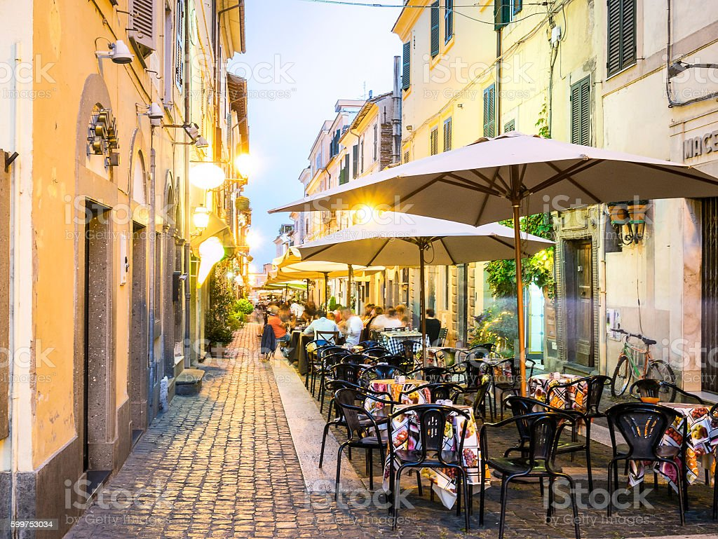 City life in Castel Gandolfo, pope's summer residency, Italy stock photo