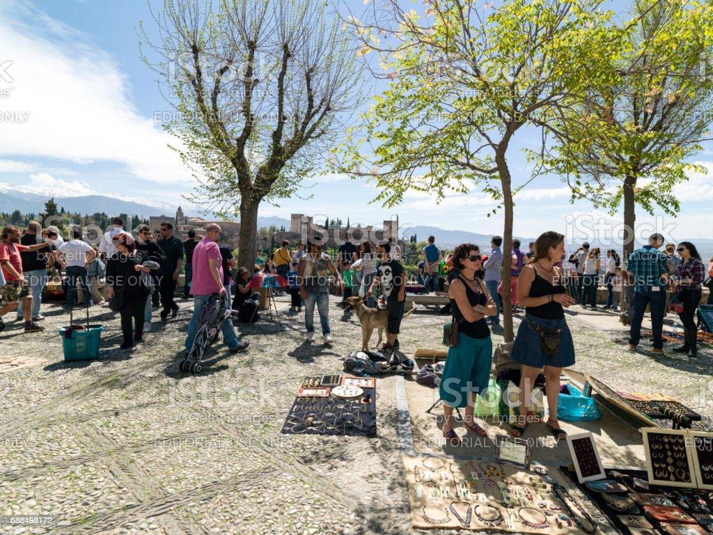 City life in Granada, Andalusia, Spain. April 4, 2015 stock photo