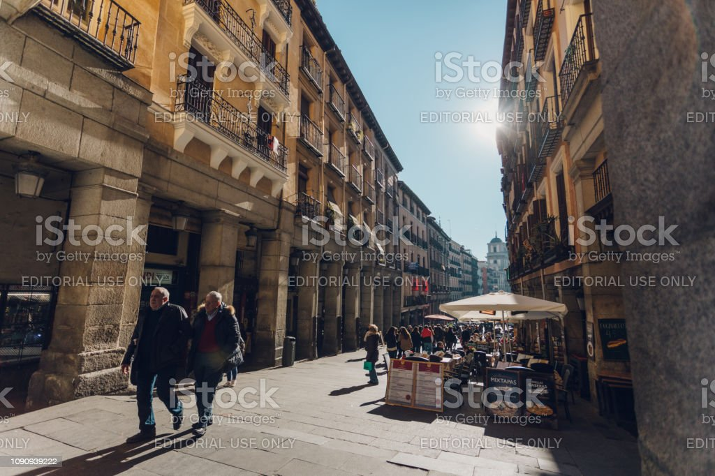 city life in Madrid stock photo