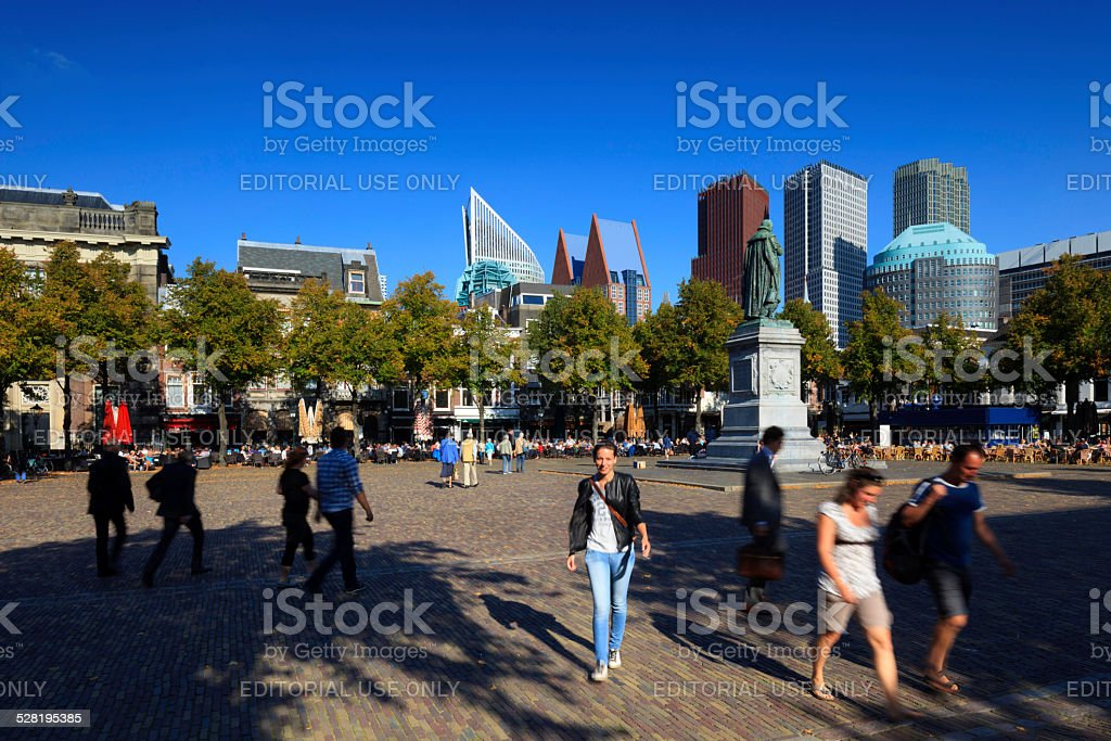 city life in The Hague stock photo