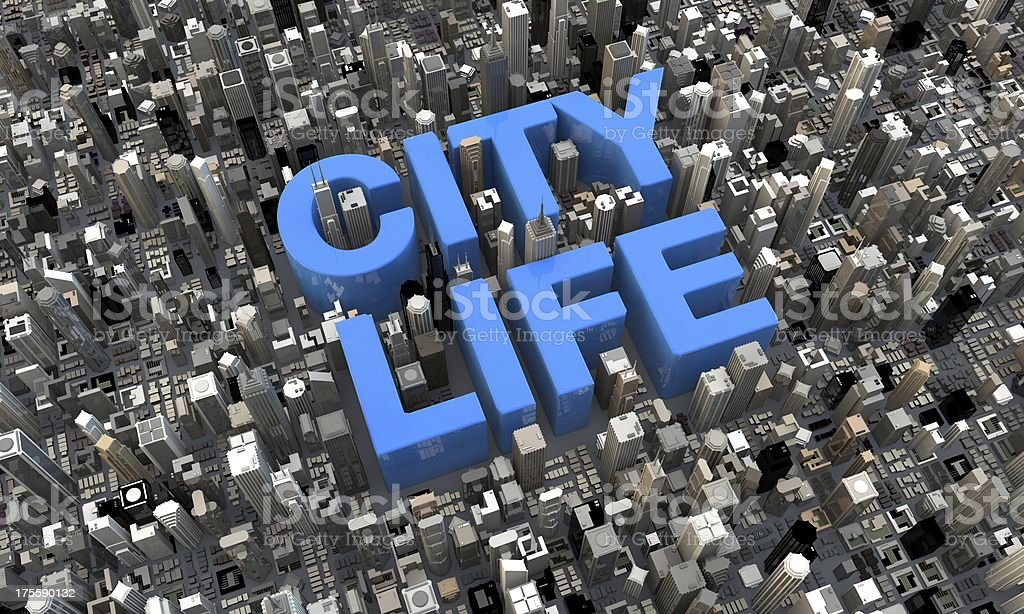 'City Life' letters lying in a city 3d render stock photo