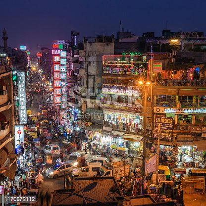 Main Bazar by night, Paharganj known for its concentration of hotels, lodges, restaurants, dhabas and a wide variety of shops catering to both domestic travellers and foreign tourists, especially backpackers and low-budget travellers.