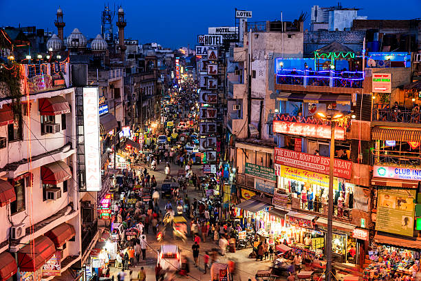 city life - main bazar, paharganj, new delhi, india - india stock pictures, royalty-free photos & images