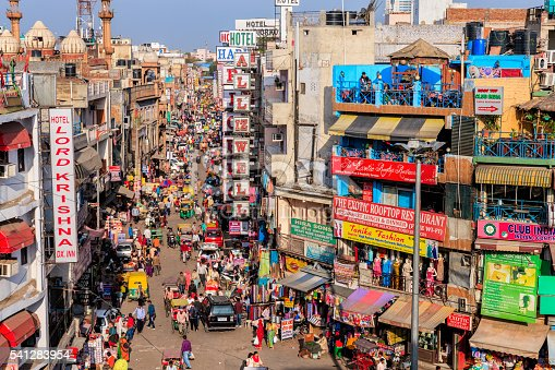 Main Bazar, Paharganj known for its concentration of hotels, lodges, restaurants, dhabas and a wide variety of shops catering to both domestic travellers and foreign tourists, especially backpackers and low-budget travellers.