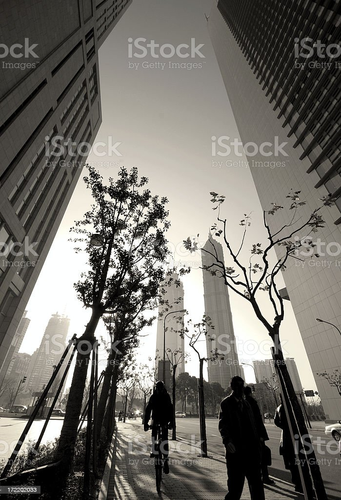 City life of business people in black and white royalty-free stock photo