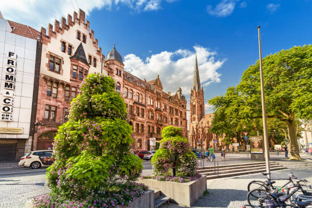 City life of Saarbrucken old historical town with St Johannes Church stock photo