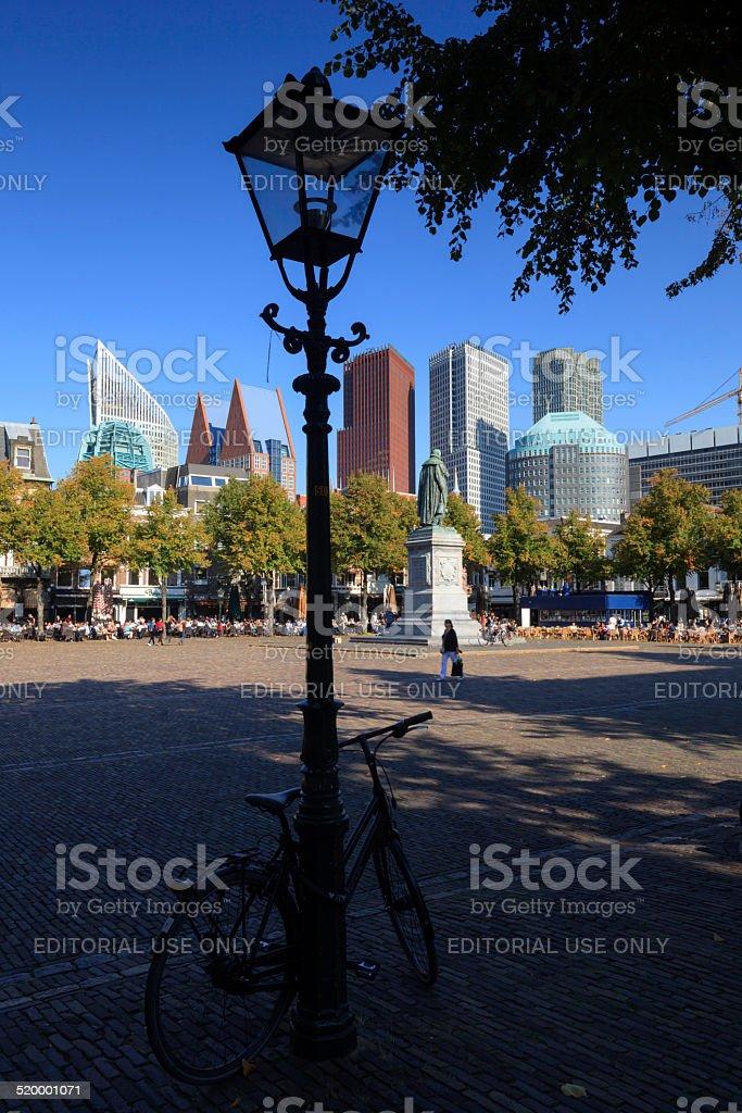 city life on Plein in The Hague stock photo