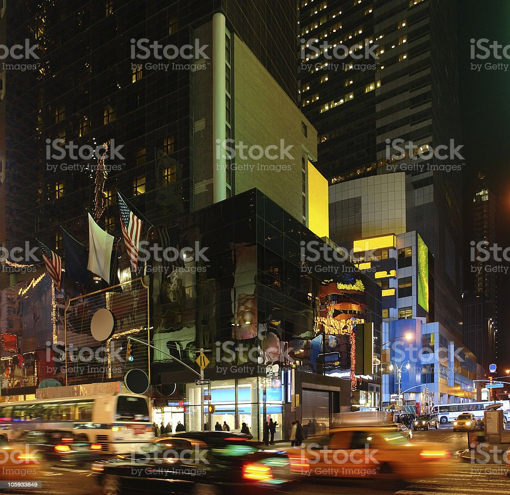 city life with Times Square at night royalty-free stock photo