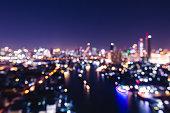 Blur city light bokeh abstract background at night in Bangkok, Thailand