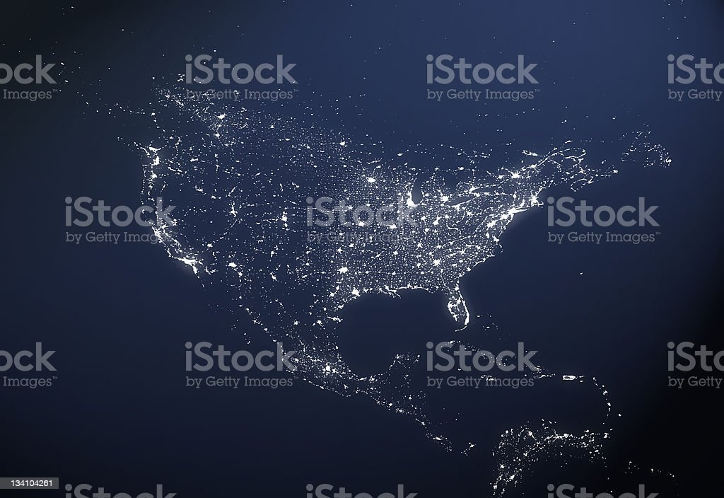 USA City Light Map stock photo
