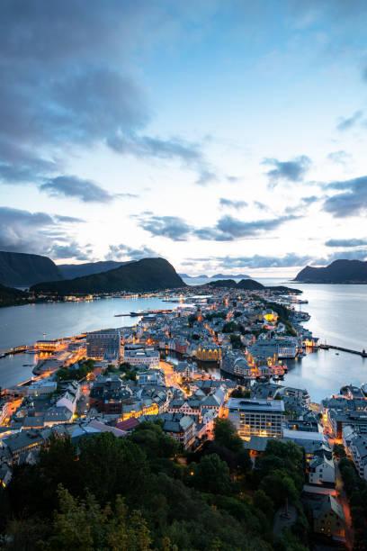 City lights - Alesund, Norway (vertical) stock photo