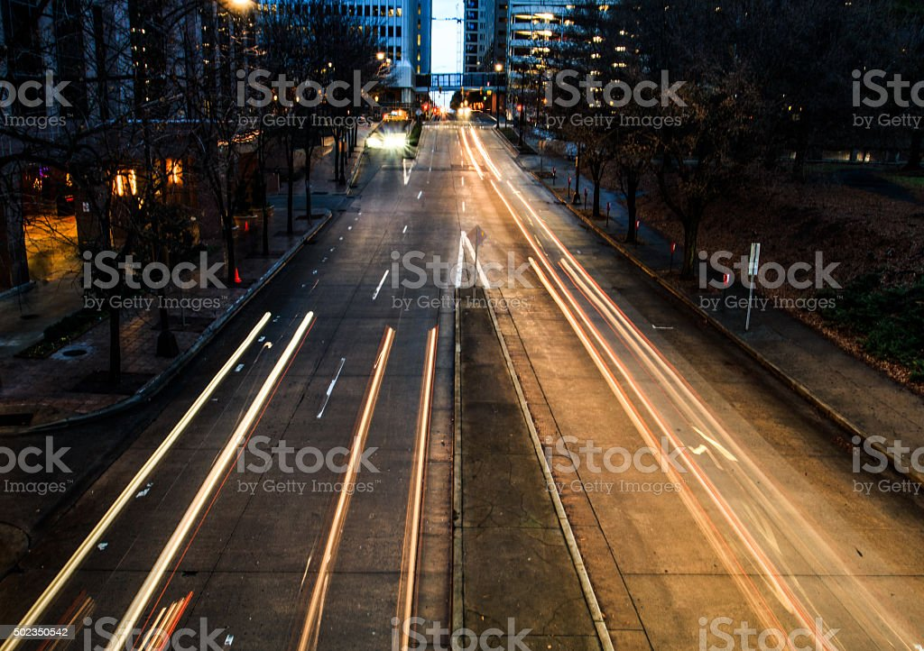 City lights and speed stock photo