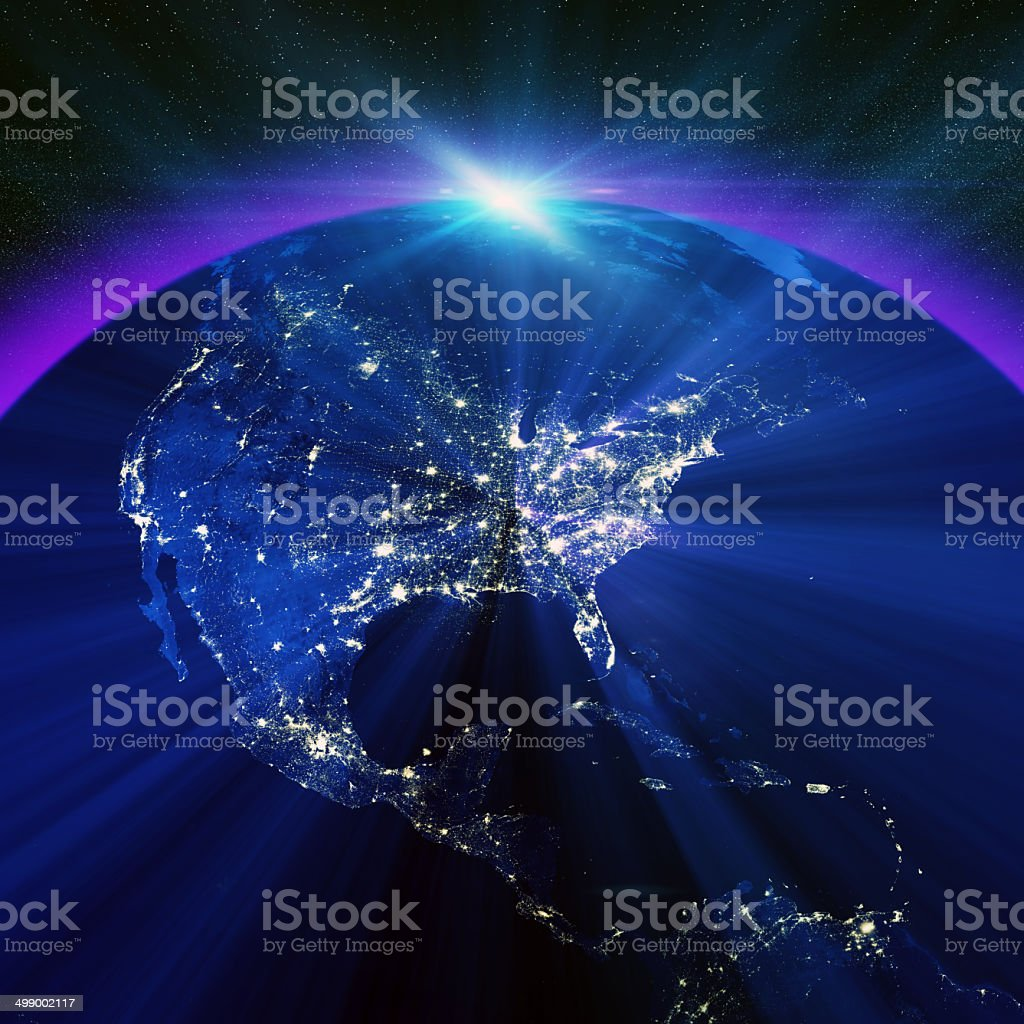 USA city lights at night royalty-free stock photo