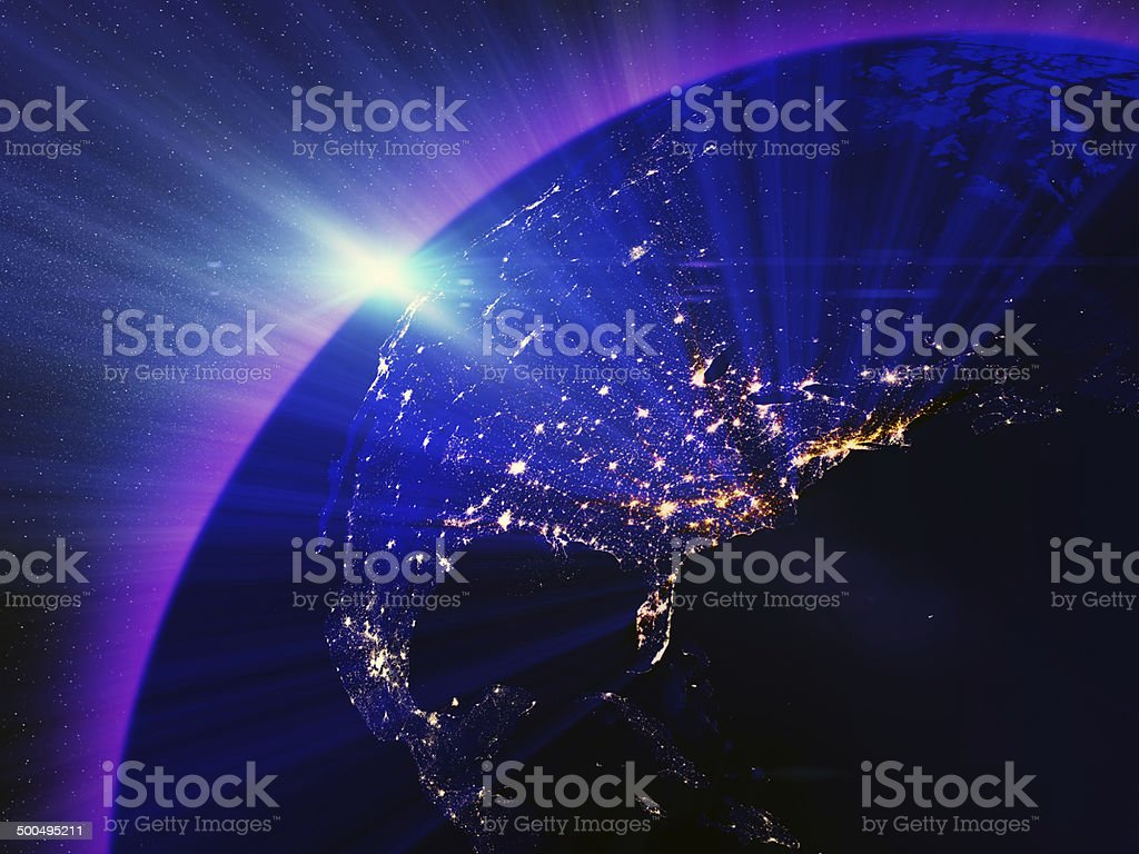 USA city lights at night stock photo