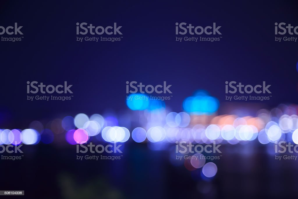 City lights bokeh  blurred background stock photo