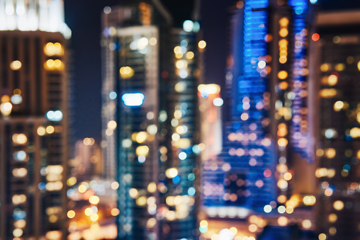 City lights bokeh blurred background