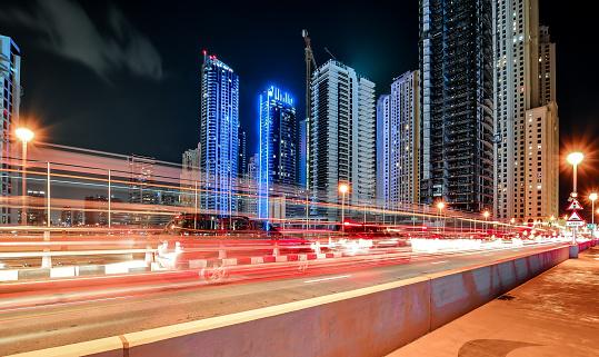 Long exposure photography, Dubai Marina by Night