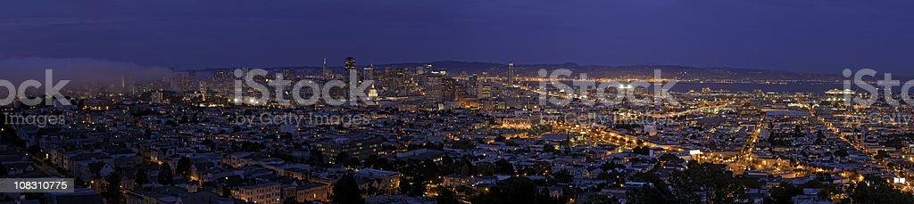 City lights illuminated night San Francisco streets houses panorama royalty-free stock photo