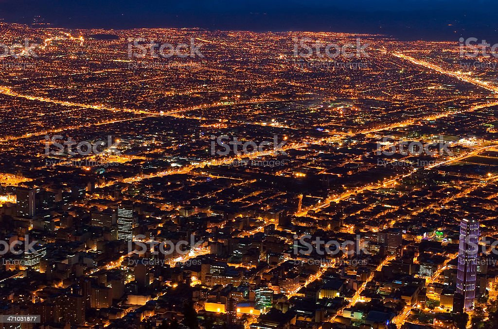 City lights in Bogot? (Colombia) stock photo