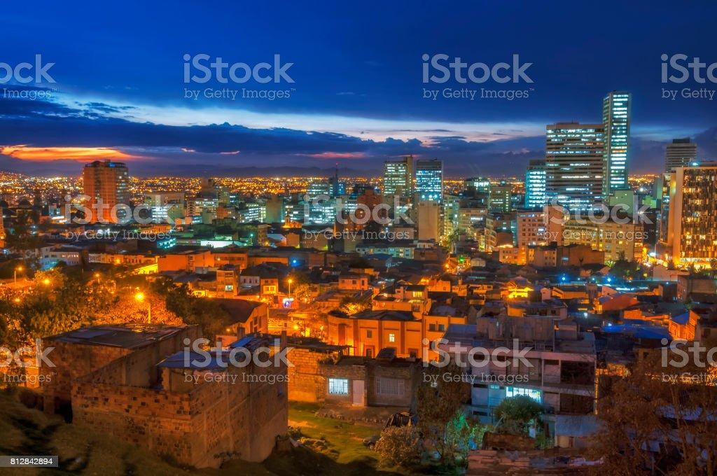 City lights in Bogota stock photo
