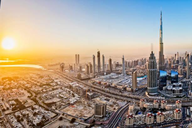 City lights in Dubai at sunrise stock photo