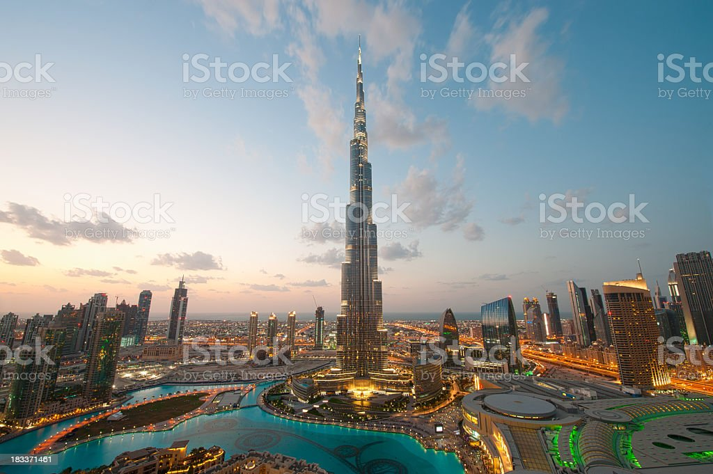 City lights in Dubai at sunset royalty-free stock photo