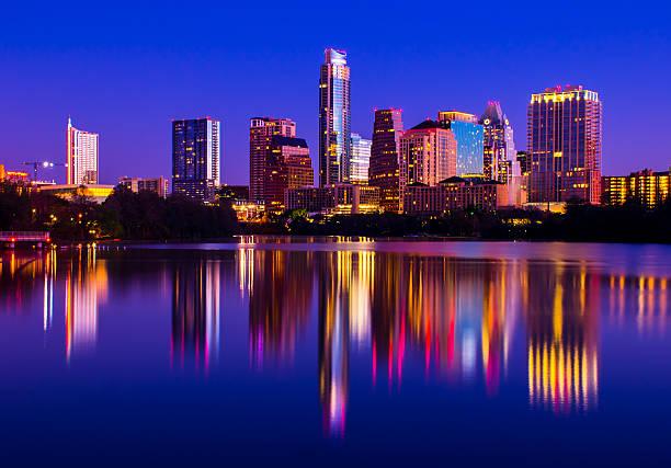 City Lights of 2015 Austin Texas Skyline at night stock photo