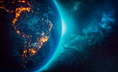 istock City lights of South America continents at night from outer space 3D rendering illustration. Earth map texture provided by Nasa. Energy consumption, electricty, industry, power supply, ecology concepts. 1221575909