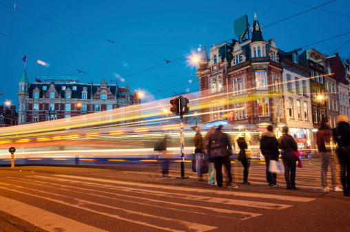 City lights on Amsterdam at night