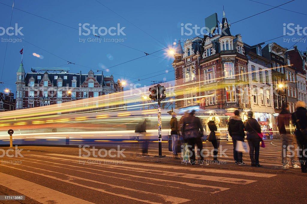 City lights on Amsterdam at night stock photo