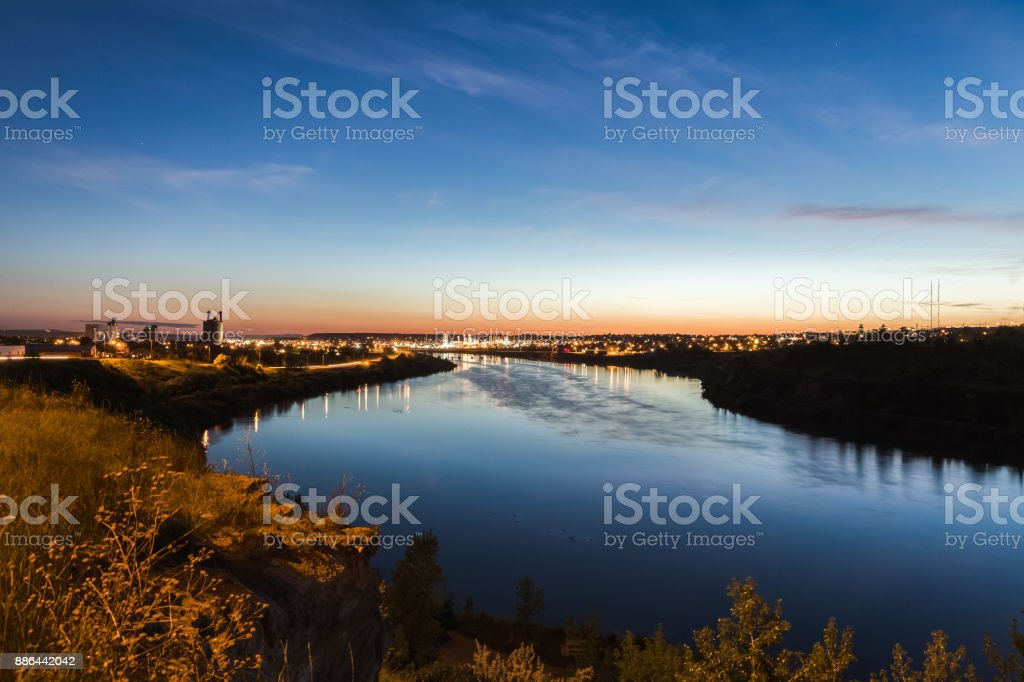 City Lights Over the Missouri River stock photo